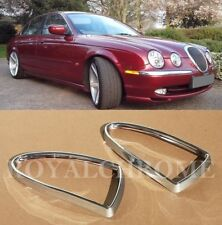US STOCK 2x CHROME Fog Light Lamp Trims for JAGUAR S Type 98-02 & XJ 03-07 X350
