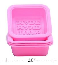 4 x Silicone Silicon Soap Mold Making Mould Square Pink 100% Hand Made