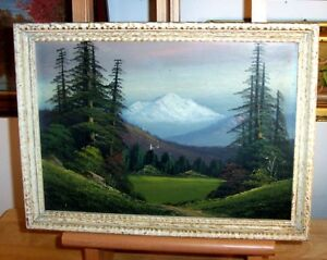 1940 Original Landscape Painting AMERICAN WEST Rocky Mountains Pacific Northwest