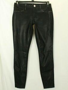 Claudio Milano Women's Black Skinny Leather Pants Swarovski Crystal Size 4