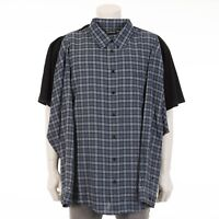 BALENCIAGA $1290,- Black Cotton Oversized Combo T-Shirt With Blue Checked Flanel