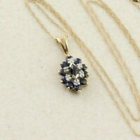 Natural Blue Sapphire Diamond Necklace 14k Yellow Gold 18 inch Chain