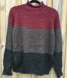 Winter striped 3 colour panel knit jumper sizes S/M, M/L & L/XL NWT wool blend