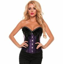 Starline Women's Feather & Lace Satin Corset Purple Small