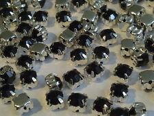 100 x 4.3mm SS18 Zum Aufnähen Schwarz Silber Set Glas Kristall Strassstein