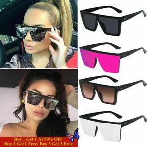 Oversized Square Sunglasses Women Fashion Flat Top One Piece Shade Mirror