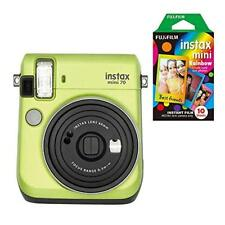 Fujifilm Instax Mini 70 Instant Film Camera (Green) +10 Sheets Mini Rainbow Film