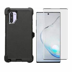 Black For Samsung Note 10+Plus Defender Case w/Clip fits Otterbox & Glass Screen
