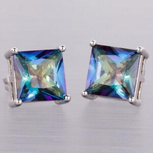 8x8 Princess Cut Blue Rainbow Mystic Topaz Silver Jewelry Stud Pierced Earrings