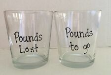 Motivational Weight-Loss Glass 12 Oz Tumblers POUNDS LOST POUNDS TO GO Set Of 2