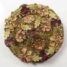 STUNNING VINTAGE ART DECO LARGE CZECH GOLD TONE, ENAMEL LEAF & FLOWER BROOCH