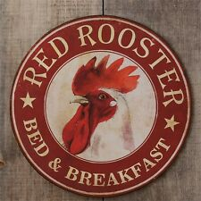 Country new RED ROOSTER Bed & Breakfast wall Sign in distressed tin