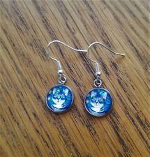 Drop Dangle Mystical Van Gogh Cat Pierced Earrings Silverplated, Boho Steampunk
