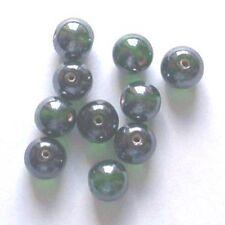 De 50: ronda 10mm lustered perlas de vidrio, verde oscuro, para la fabricación de joyas etc.
