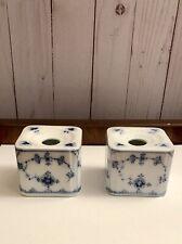 Antique Royal Copenhagen Blue & White Rare Square Candleholders