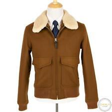 NWOT Sandro Caramel Brown Wool Cashmere Remov. Fur Collar Blouson Jacket L