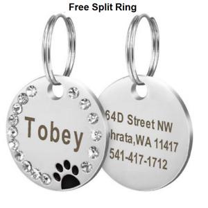 Custom Engraved Pet Dog Cat  Tags Personalized Bone/Paw/Round & Free Split ring