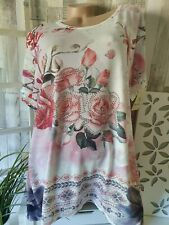 Tunika Shirt Weiss Glitzer Nieten Kurzarm Blumen Viscose Italy Style 50 52