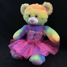 Build A Bear Rainbow Plush Teddy Bear Glitter Tutu Sequin Top Pink Purple Babw
