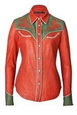 Ralph Lauren Glorieta Lambs Leather Cowgirl Shirt Jacket UK 6 US 2 XS
