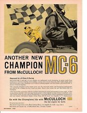 1960 McCULLOCH MC-6 GO KART ENGINE ~ ORIGINAL PRINT AD
