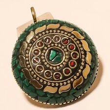 """MALACHITE WITH RED CORAL GEMSTONE GOLD PLATED PENDANT 2.1"""""""