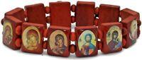 Wood Bracelet Saint St Saints Bead Stretch Jesus Brown Holy Land Jerusalem