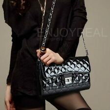 New Single Shoulder PU Leather Handbag with Chain Quilted Cross Body Bag Fine