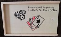 Traditional Playing Cards & Dice Set Game In Personalised Wooden Box