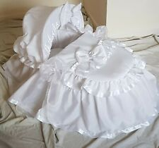 WHITE WITH SATIN AND ORGANZA  MOSES BASKET COVER SET BY BABYFANZONE