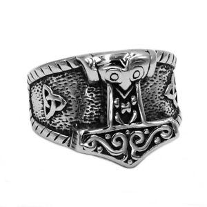 316L Edelstahl Ring Thors Hammer Mjölnir Malmer Triqueta Wikinger Kelten Herren