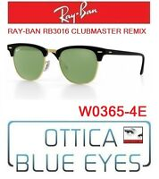 Occhiali da SOLE RAYBAN RB3016 CLUBMASTER REMIX 4E Sunglasses Ray Ban Black NEW