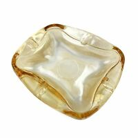 Vtg ANCHOR HOCKING Mid Century Peach Yellow Luster Art Glass Ash Tray