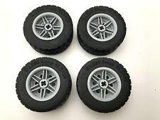 Lego Light Bluish Gray Wheel 30.4x20 + Tire 49.5x20 - 56145 + 15413  NEUF - X4