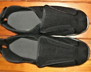 Men's Size XXL Soft Black Ortho Adjustable Shoes Slippers w/ Removeable Insoles