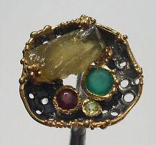 CeS Ring Beryll, Heliodor Nugget, Granat, Peridot und Chalzedon
