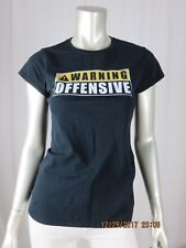 "GILDAN SOFTSTYLE SZ M 100% Cotton ""Warning Offensive"" Sign Tee Shirt Blouse Top"