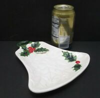 Vintage Lefton Bell Shaped TidBit Server Plate 6074 Japan White Green Red