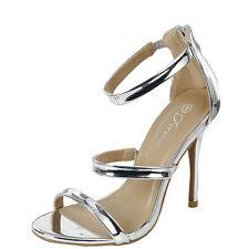 Women Metallic Open Toe Single Sole Triple Ankle Strap Stiletto Heel Pump Sandal