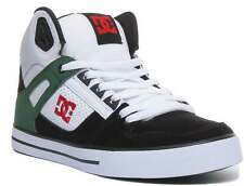 Dc Shoes Pure Hi Top Wc Men Leather Trainers In Wht Grn Blk Size UK 6 - 12