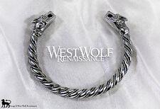 Silver Viking Fenrir Wolf Bracelet/Torc/Torque -- Norse/Medieval/Jewelry/Skyrim