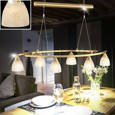 Suspension lustre luminaire plafond six spots verre laiton mat hauteur réglable