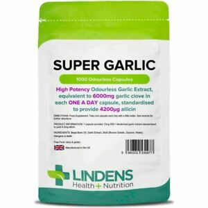 Super Strength Garlic 6000mg Odourless 1000 capsules oil softgels