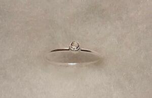 Delicate 0.1 carat natural white topaz ring size 4.75
