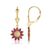 Ruby Birthstone Sunflower Shaped Drop Dangle Leverback Earrings 14K Yellow Gold