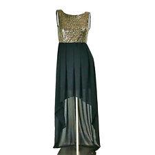Forever 21 Dress S Gold Sequins Black High Low Sleeveless Maxi Elegant Cocktail