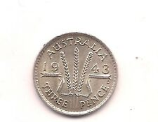 1943-D Australia Silver Three Pence--Very Strong Details!!