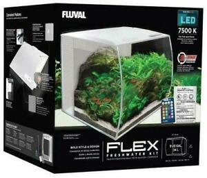 Fluval Flex Nano Aquarienset Aquarium + LED Avec Télécommande 34L Blanc 15005