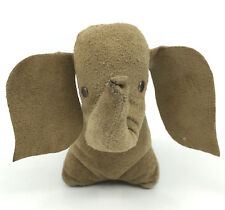 Vintage Suede Leather Elephant Stuffed Animal Germany 5in 13cm Metal Rivet Eyes