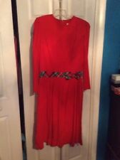 Vintage Melissa Brand Dress Size 12 Red With Plaid Detail